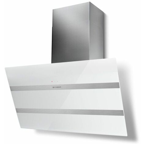 hotte décorative inclinée 90cm 840m3/h inox/verre blanc - 5513326 - faber