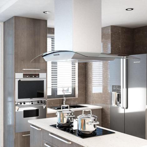 Hotte pour îlot de cuisson en acier inoxydable 756m3/h éclairage LED 90CM - MJ50664