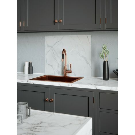House Beautiful Calacatta Marble Glass Kitchen Splashback 600mm x 750mm
