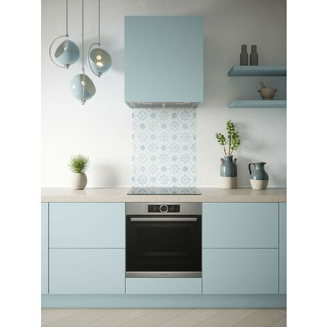 """main image of """"House Beautiful Heritage Sky Blue Glass Kitchen Splashbacks - different dimensions available"""""""