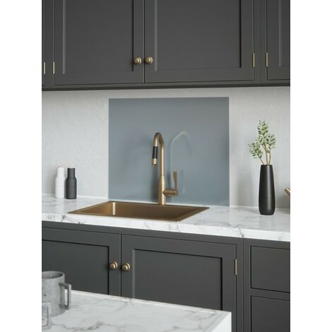 House Beautiful Pewter Glass Kitchen Splashback 600mm x 750mm