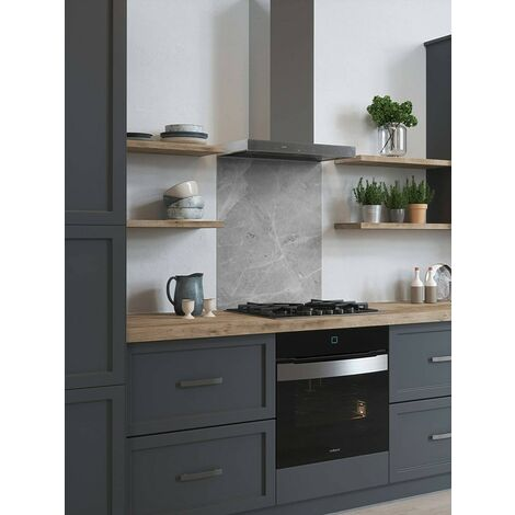 House Beautiful Pietra Grey Glass Kitchen Splashback 600mm x 750mm