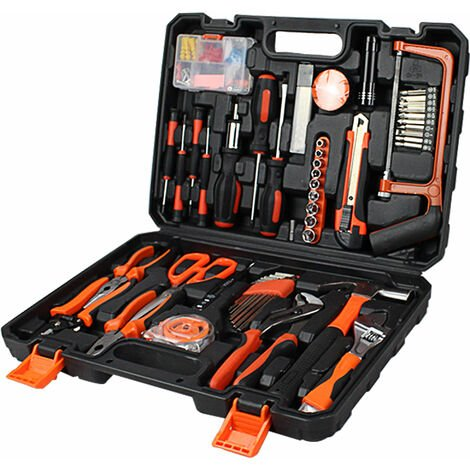 Household Tool Box, Home Tool Kit, 114 herramientas, con estuche negro, Material: Acero, Plástico