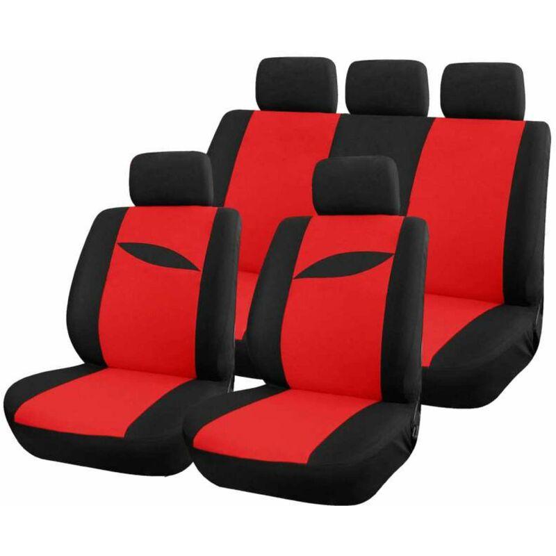 Housse auto rouge universelle 9 pcs