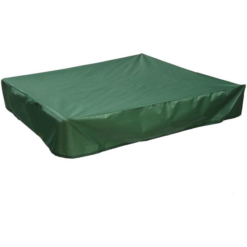 Housse Bac à Sable Couverture Anti-poussière étanche Carré Auvent Abri Tissu Vert 180*180cm