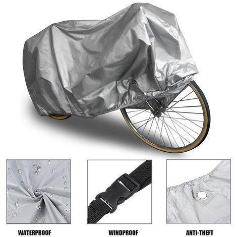 Housse Bâche Couverture Anti-UV Poussière Protection Pour Moto Vélo VTT 200x70x110cm Gris