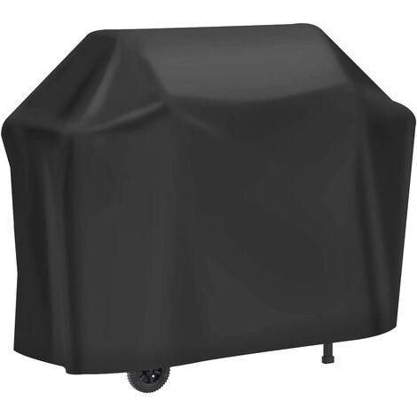 Housse Barbecue, Housse Bâche de Protection Résistante de 210D Oxford Protection BBQ à Gaz, Couverture de Grill Anti-Vent/Anti-UV/Anti-l'eau/Anti-l'Humidité/Antipoussière 147x61x117cm Noir