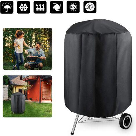 Housse Barbecue, Rond Housse Bâche de Protection BBQ Couverture Anti-poussière Anti-UV Anti-Pluie pour Jardin Patio avec Sac de Rangement, 24X28.5in(Noir)