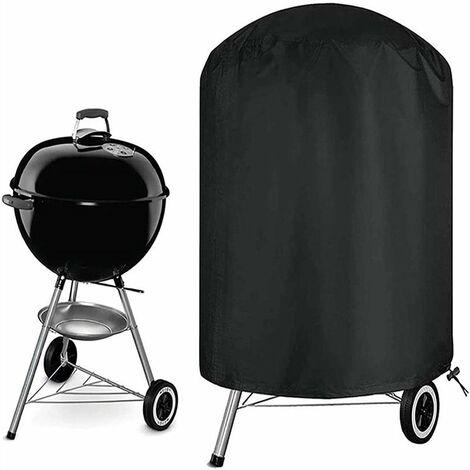 Housse Barbecue, Rond Housse Bâche de Protection BBQ Couverture Anti-poussière Anti-UV Anti-Pluie pour Jardin Patio avec Sac de Rangement(Noir)