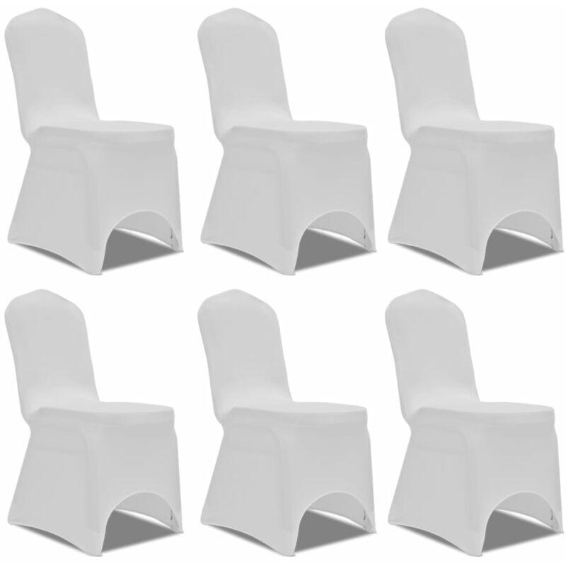 Housse blanche extensible pour chaise 6 pièces