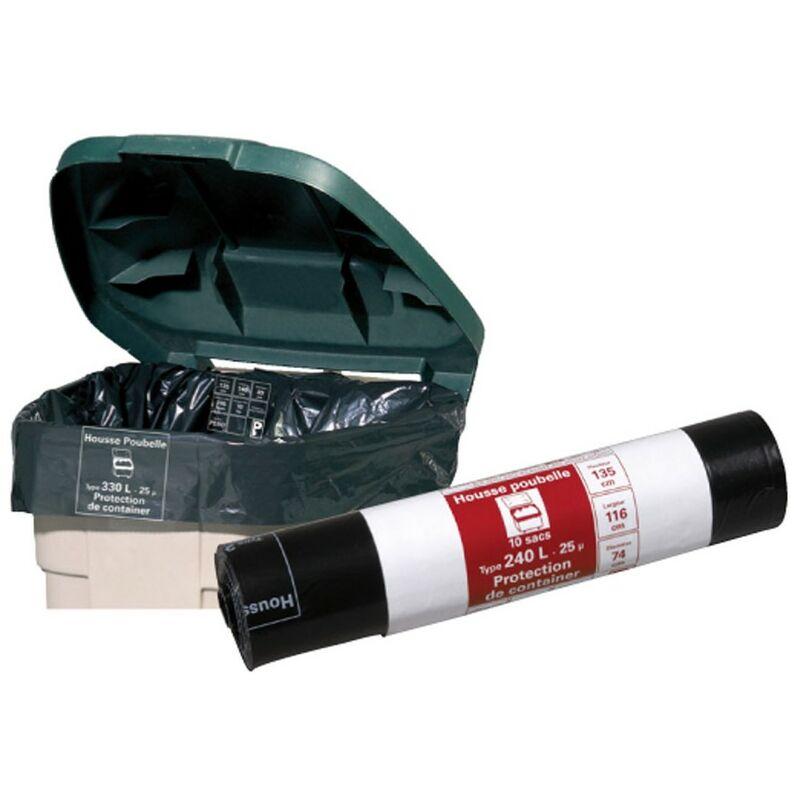 Publi Embal - Housse container 120L noir, rouleau de 10 sacs