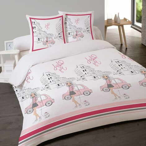 Housse couette 220x240 + 2 taies FASHION GIRL - Blanc