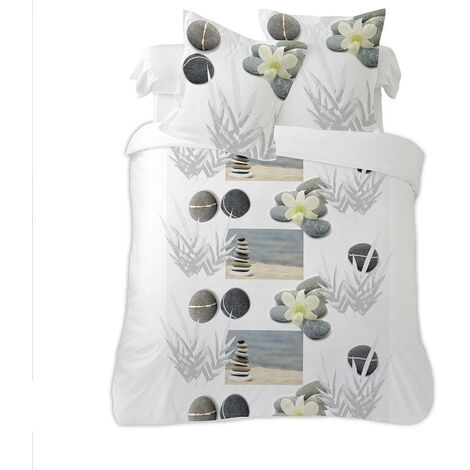 Housse couette 220x240 + 2 taies IDRIS - Blanc