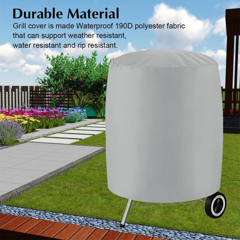 Lbtn - Housse de barbecue pour barbecue Couvre-fumeurs ronds imperméables pour patio extérieur (gris, L (24 'x 28.5'))