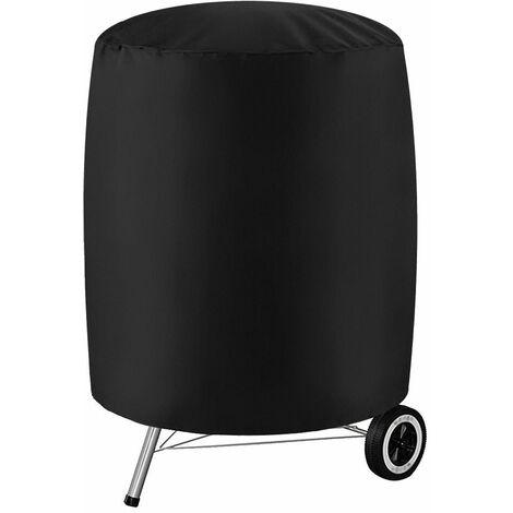"""Housse de barbecue pour barbecue Couvre-fumeurs ronds imperméables pour terrasse de jardin (noir, taille XL (27,5 """"x 27,5""""))"""