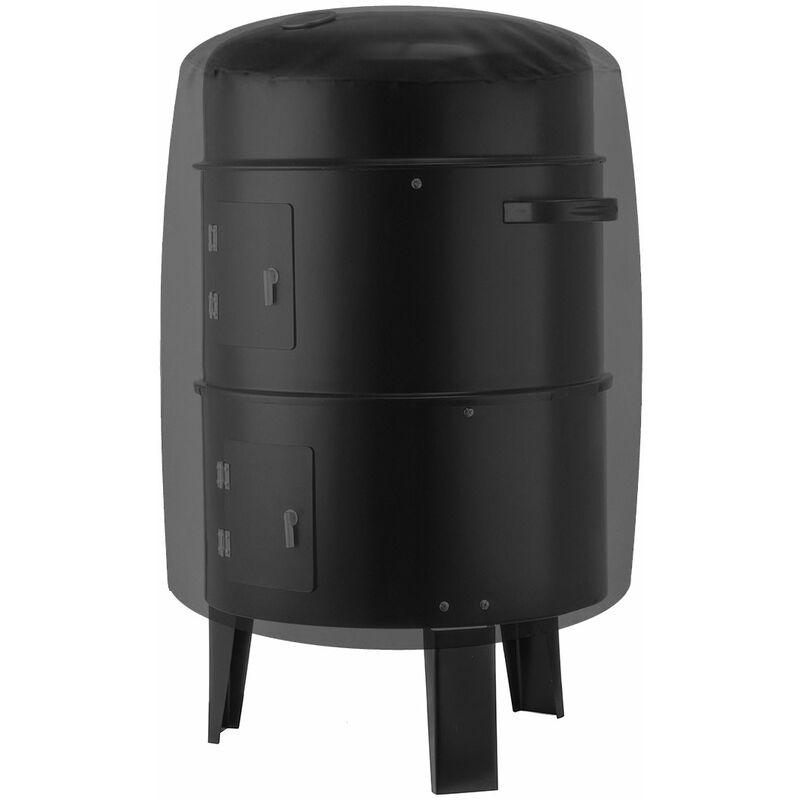 Lbtn - Housse de barbecue pour barbecue Couvre-fumoir rond pour barbecue étanche pour patio extérieur (noir, L (24 'x 28.5'))
