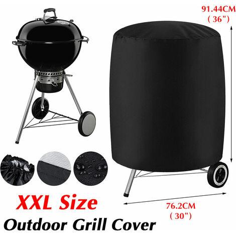 """Housse de barbecue pour barbecue Couvre-fumoir rond pour barbecue étanche pour patio extérieur (noir, XXL (30 """"x 36""""))"""