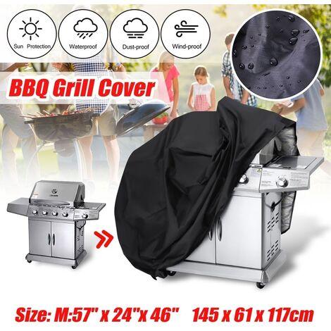 Housse de barbecue robuste étanche pluie barbecue grill protecteur de jardin L grande taille (145x61x117cm) L (145x61x117cm)