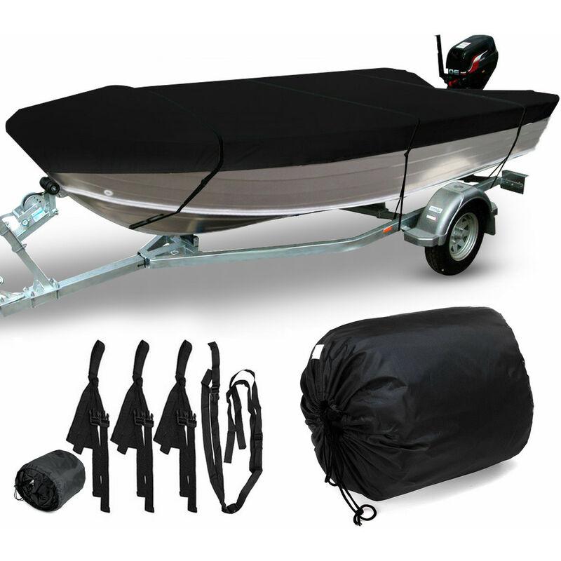Housse de bateau ouverte étanche pour pêche à coque en V remorquable de qualité marine 3,5 m (noir 430 x 205 cm pour 3,5 à 3,7 m)
