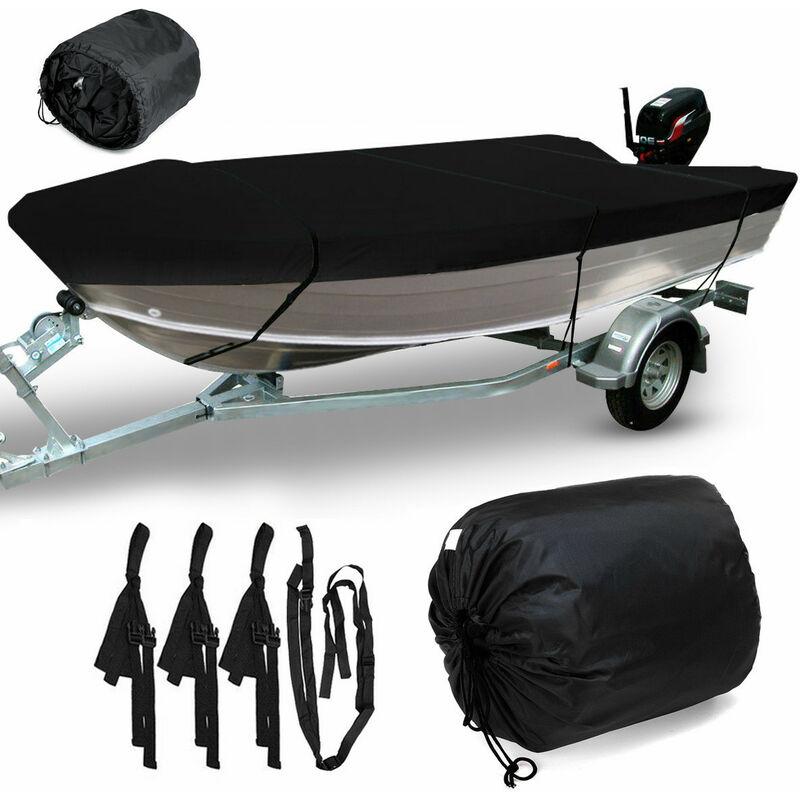 Housse de bateau ouverte étanche pour pêche à coque en V remorquable de qualité marine 3,5 m (noir 450x215 cm pour 3,7-3,9 m)