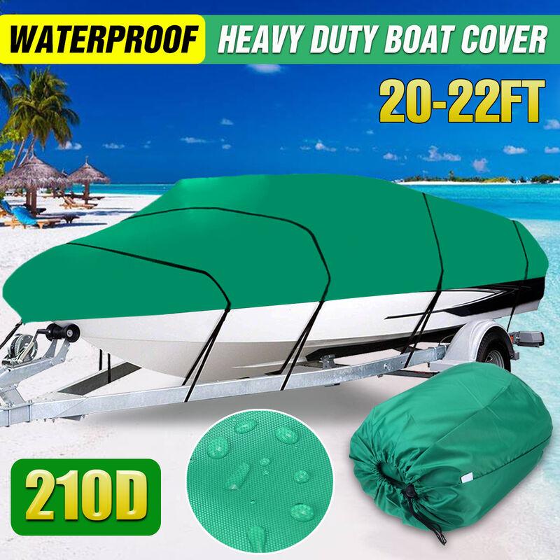 Housse de bateau robuste imperméable à l'eau remorquable Ski Bass V-Hull Runabouts (vert, 20-22ft 700x290cm)