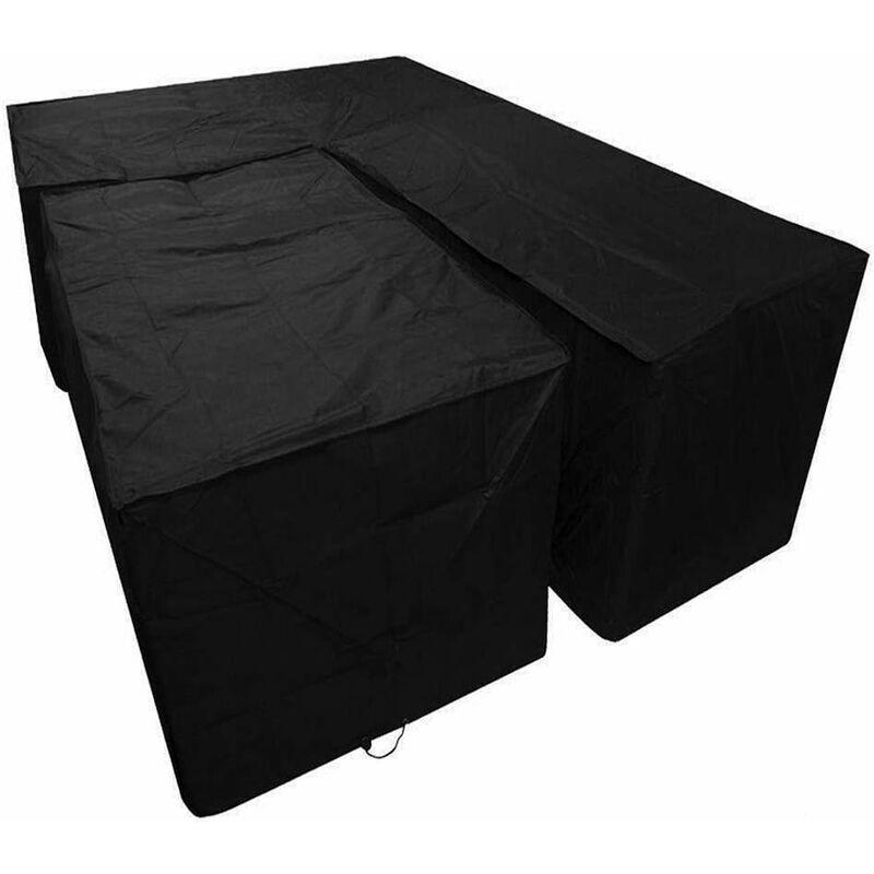 Betterlife - Housse de canapé en forme de L - Tissu Oxford 210D - Imperméable - Pour meubles de jardin - Avec sac de rangement pour le déplacer (215