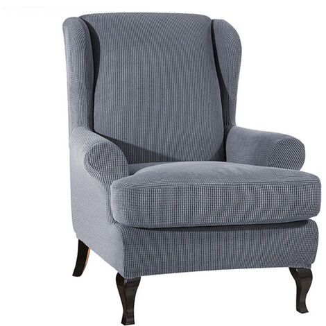 Housse de canape en tissu extensible Wing Chair, gris clair