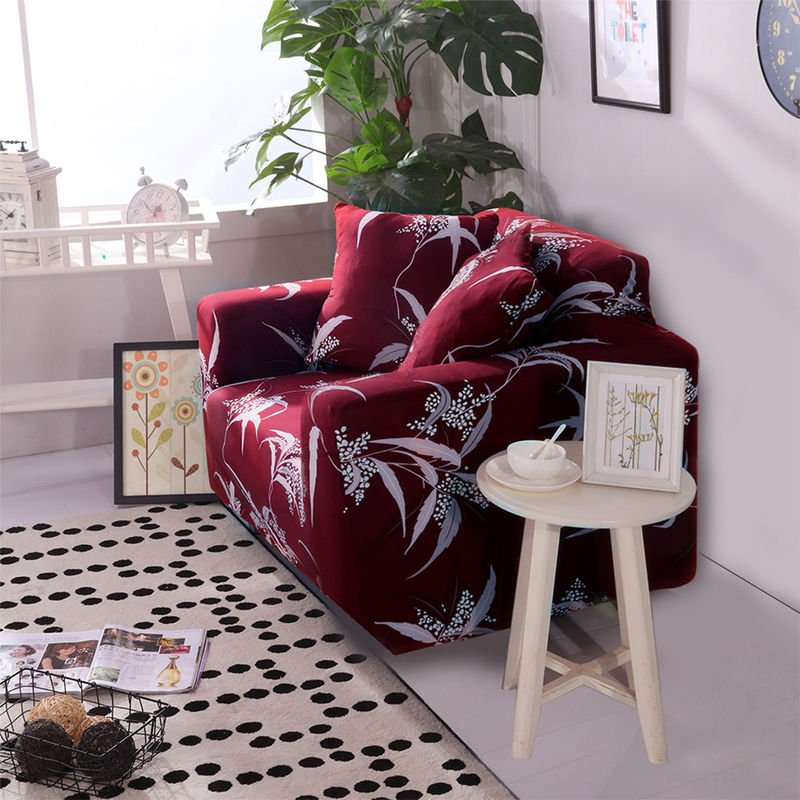 Sofa Taie Accoudoirs Canape Ptotector Extensible Cover Tout Compris Intercalaire Canape, Rouge, 0.9*1.4M