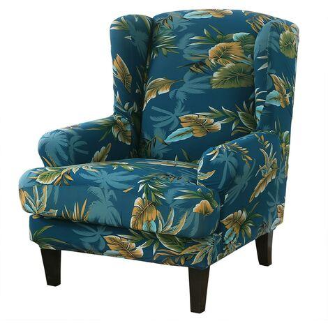 Housse de canapé pour fauteuil à oreilles élastique Housse de fauteuil couleur polyester-coton (vert)