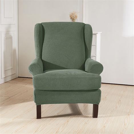 Housse de chaise à bras incliné imperméable King Housse de banc de tigre élastique Housse de fauteuil extensible Wingback Wingback Housse de protection de chaise vert (vert) vert