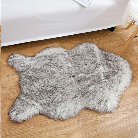 Housse de chaise de luxe en fausse peau de mouton douce, coussin de siège, tapis Shaggy pour canapé de chambre à coucher 2 pi x 3 pi