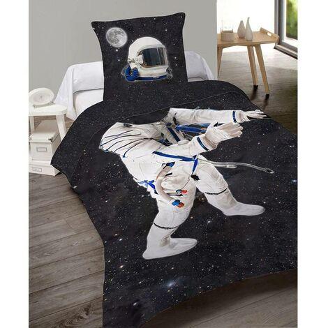 Housse de couette 140x200 cm et une taie Cosmos coton - Noir