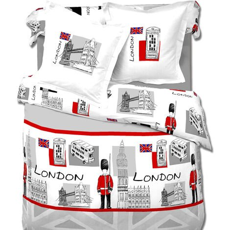 Housse de couette 220x240 + 2 taies LONDON BRIDGE 100%coton