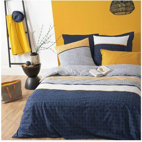 Housse de couette 220x240 Rayures ethniques bleu + 2 taies 100% coton 57 fils - Bleu