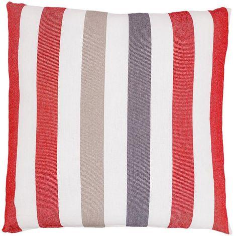 Housse de Coussin 100% Coton 60 x 60 cm Déhoussable Rayures Verticales Multicolores Tissé Teint Rouge Multicolore