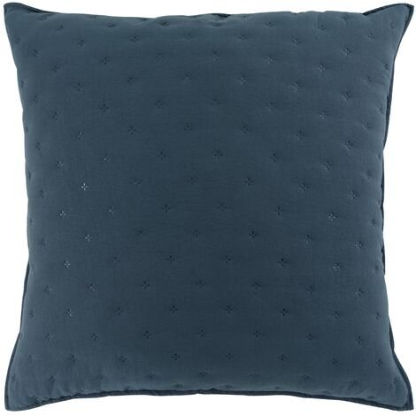 Housse de coussin 60 x 60 cm microfibre bicolore Mellow chic Bleu/blanc