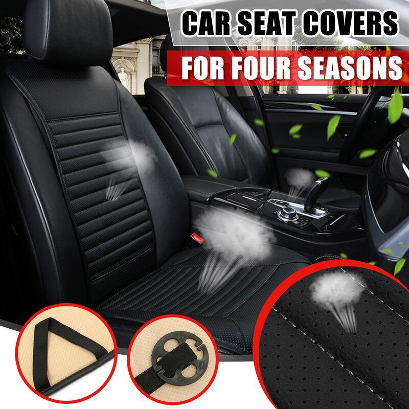 Housse de coussin de siège auto universel pour voiture Protecteur de tapis Four Seasons en cuir PU (noir, 1pc NO.B)
