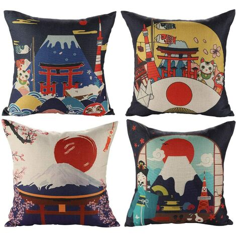 Housse de Coussin Japonais Fuji Ukiyo-e en Coton et Lin Taie d'oreiller Canapé Voiture Maison Lit Décor 45 x 45cm, Ensemble de 4 pièces (Style Japonais A)