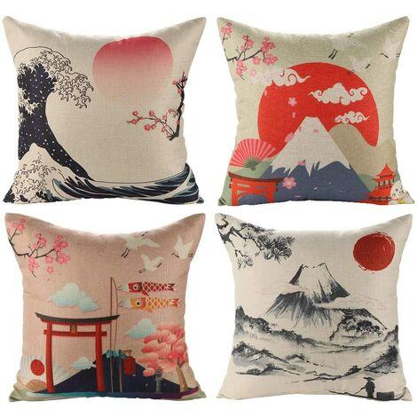 Housse de Coussin Japonais Fuji Ukiyo-e en Coton et Lin Taie d'oreiller Canapé Voiture Maison Lit Décor 45 x 45cm, Ensemble de 4 pièces (Style Japonais B)