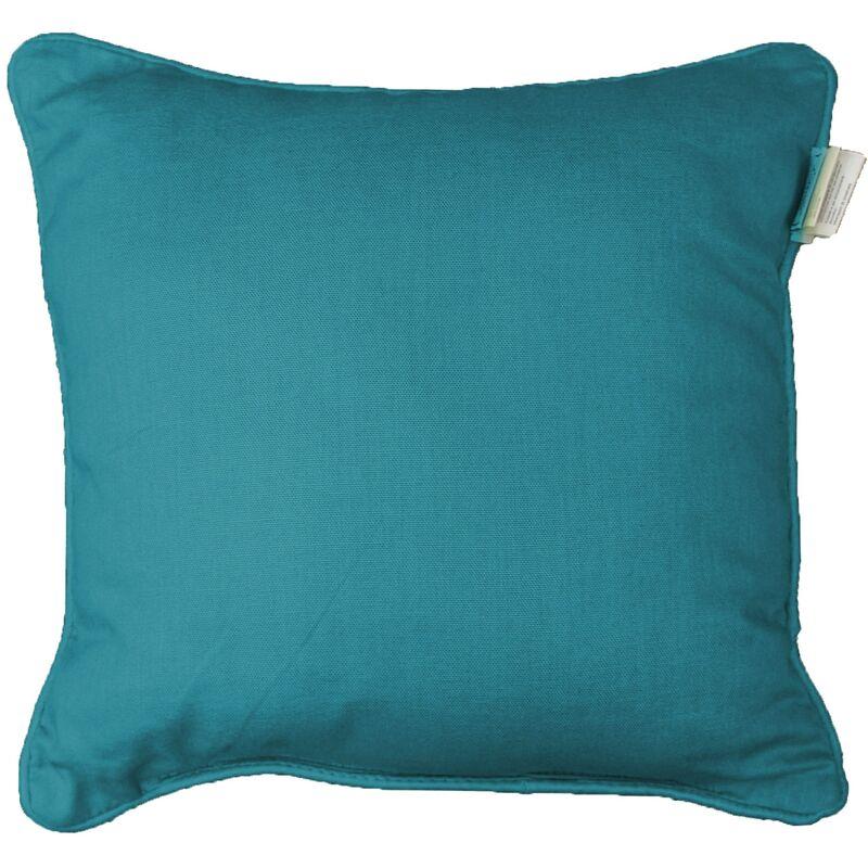 Housse de coussin +encart 40 x 40 cm coton uni panama Bleu