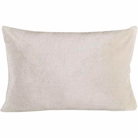 Housse de coussin rectangulaire blanche effet polaire 40x60 cm - COZY - Blanc