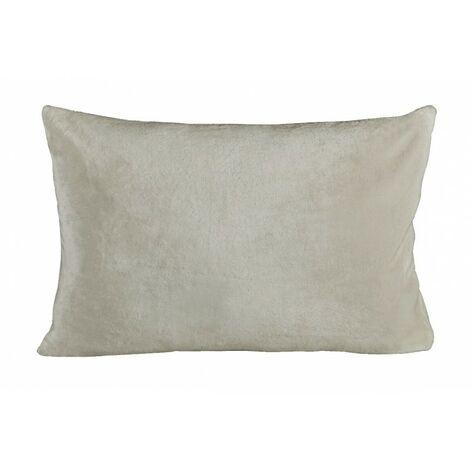 Housse de coussin rectangulaire écru effet polaire 40x60 cm - COZY - Blanc