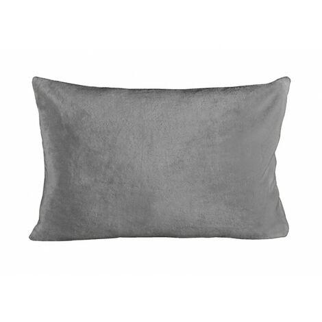 Housse de coussin rectangulaire grise effet polaire 40x60 cm - COZY - Gris