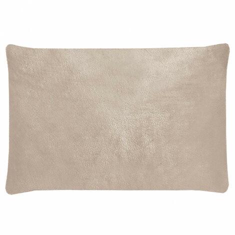 Housse de coussin rectangulaire rose pâle effet polaire 40x60 cm - COZY - Rose