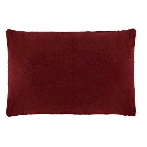 Housse de coussin rectangulaire rouge foncée effet polaire 40x60 cm - COZY - Rouge
