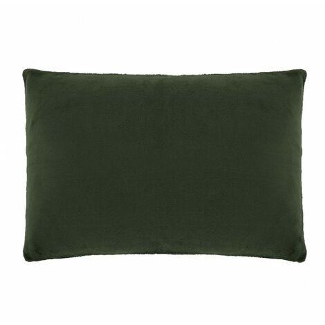 Housse de coussin rectangulaire verte foncée effet polaire 40x60 cm - COZY - Vert