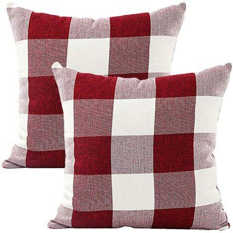 Housse de Coussin Treillis Géométrique d'oreiller pour Canapé Maison Salon Chambre Décoration D'intérieur, 45x45cm, Ensemble de 2 pièces(Blanc Rouge|2 pièces)