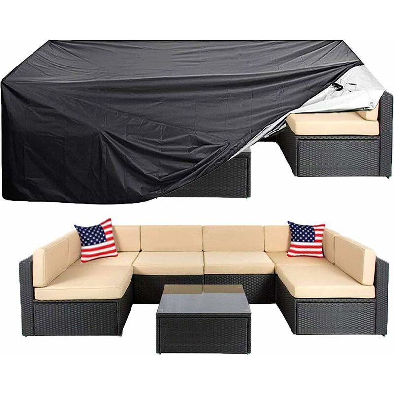 Housse de meubles de patio Super grande housse de meubles sectionnels d'extérieur, housses de canapé de chaise de table, housse de protection