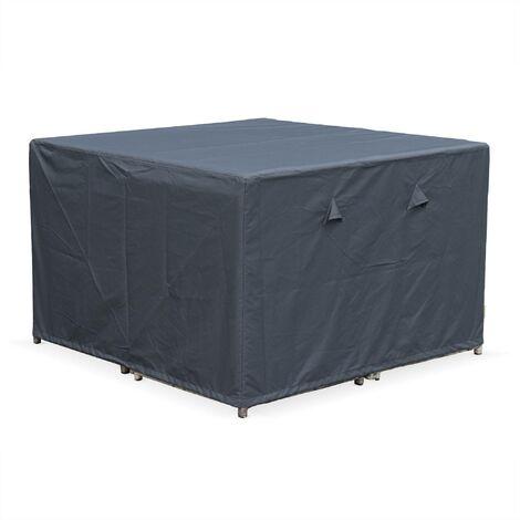 Housse de protection 112x112cm gris foncé polyester enduit PA pour tables de jardin Vasto 8, Cubo 8