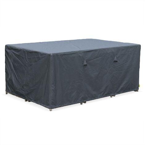 Housse de protection 172x112cm gris foncé polyester pour tables de jardin Vasto 10, Cubo 10